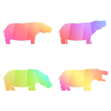 Set of multi-colored gradient hippos in different poses, vector illustration