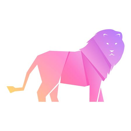 Purple and pink gradient lion isolated on white background, vector illustration Banque d'images - 138368834