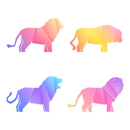 Set of multi-colored gradient lions in different poses, vector illustration Banque d'images - 138368816
