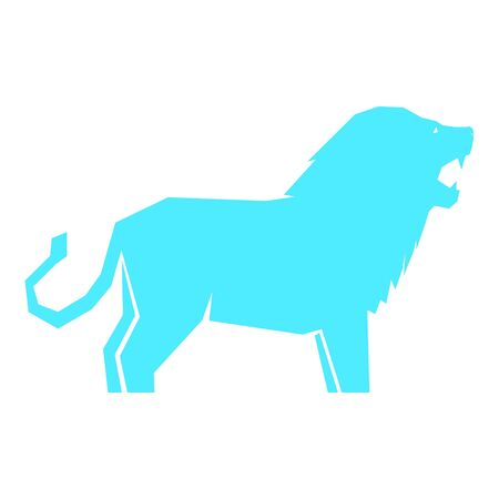 Blue lion isolated on white background, vector illustration Banque d'images - 138368884