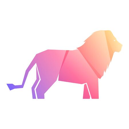 Pink and purple gradient lion isolated on white background, vector illustration Banque d'images - 138369743