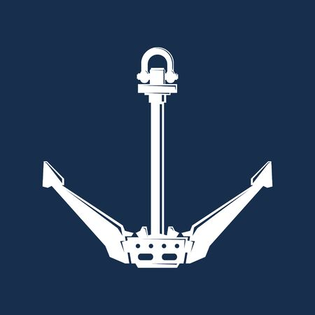 White flat anchor isolated on a blue background, silhouette marine equipment, travel and tourism concept, vector illustration Illustration