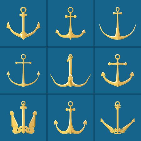 Set of gold flat anchors isolated on a blue background, silhouette marine equipment, travel and tourism concept, vector illustration Illustration