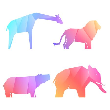 Set of multi-colored gradient african animals in different poses, lion and hippo, elephant and giraffe, vector illustration