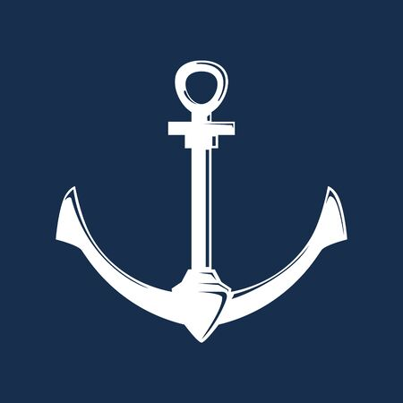White flat anchor isolated on a blue background, silhouette marine equipment, travel and tourism concept, vector illustration Ilustração