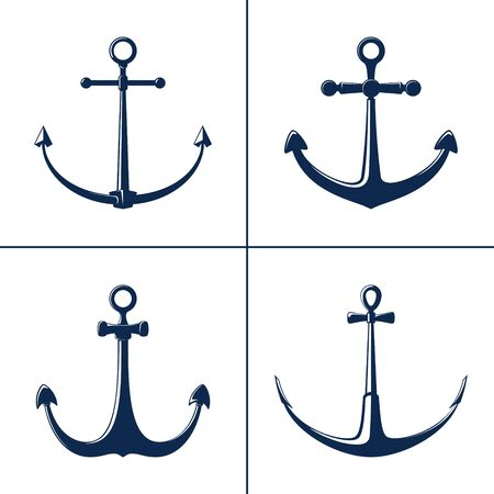 Set of anchors, blue flat anchor isolated on white background, marine equipment, travel and tourism concept, vector illustration