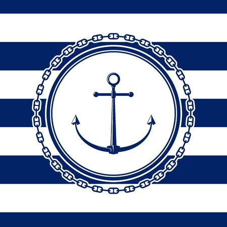 Sea emblem with anchor on a blue and white striped seamless marine background, a circle of a chain, vector illustration