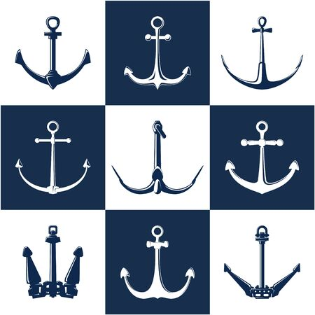 Set of anchors, white and blue flat anchor isolated , marine equipment, travel and tourism concept, vector illustration