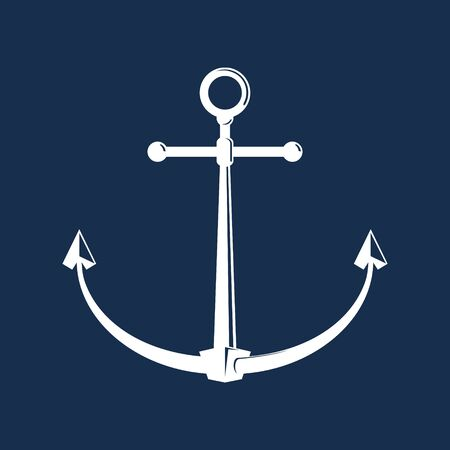 White flat anchor isolated on a blue background, silhouette marine equipment, travel and tourism concept, vector illustration