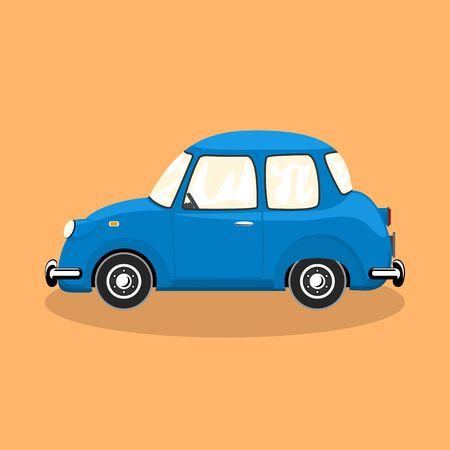 Blue retro car isolated on orange background, vector illustration
