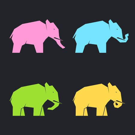 Set of multi-colored elephants in different poses on a dark background, vector illustration