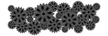 Banner of gear wheels or cogs, technology and industry, teamwork concept, black and white vector illustration