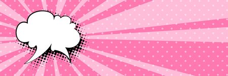 Banner with sun's rays and dots , speech bubble on a pink pop art retro background, vector illustration