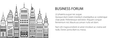 Banner of an architectural metropolis, silhouette modern big city with buildings and skyscraper, city financial center , black and white vector illustration