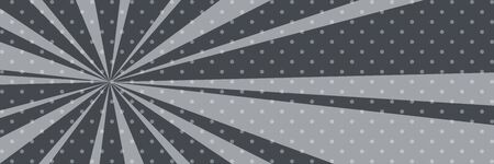Cartoon retro pop art banner with sunbeam, dots on a gray banner and the sun's rays , vector illustration