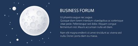 Banner with planet in space and text , the moon with stars, space planet with craters in the universe, vector illustration