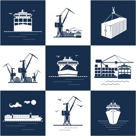 Set of blue and white marine cargo icons, dry cargo ship and container ship, unloading containers from a vessel in a docks with crane, international freight transportation, vector illustration