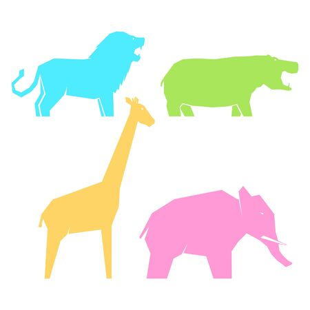 Set of multi-colored african animals in different poses, lions and hippos, elephants and giraffes, vector illustration