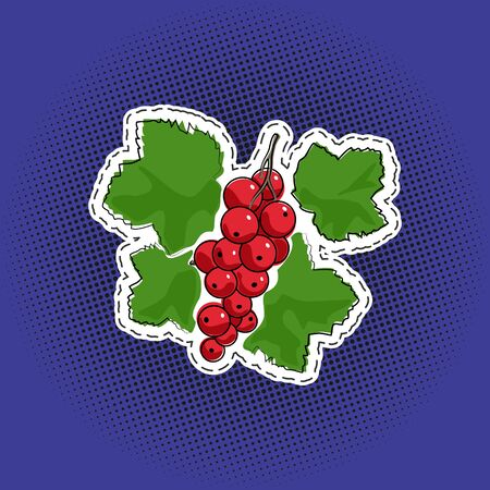 Sweet fruit berry redcurrant sticker on a purple violet pop art halftone background, black dots in the form of a circle , pins or patches, retro style, vector illustration