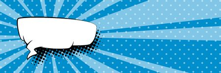 Banner with suns rays and dots , speech bubble on a blue pop art retro background, vector illustration