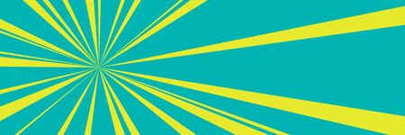 Green retro banner with yellow suns rays , pop art banner with sunbeam, vector illustration