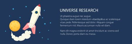 Banner with space rocket flying in space and text , yellow moon with stars, planet with craters in the universe, vector illustration