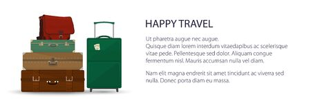 Banner with retro colored suitcases and trolley suitcase and travel bag , luggage bags for traveling, travel and tourism concept , vector illustration