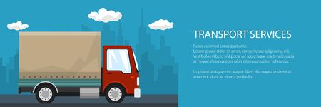 Banner of transportation and cargo services, red cargo delivery truck on the background of the city and text, shipping and freight of goods, vector illustration Stock Illustratie