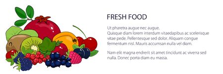 Banner with juicy summer berries and fruits , natural organic and healthy food concept, fresh eco fruits, vector illustration