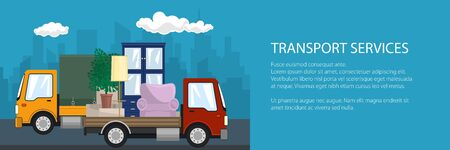 Banner of road transport and logistics, yellow small covered truck and red lorry with furniture go on the road, shipping and freight of goods, vector illustration