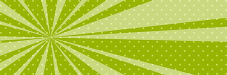 Cartoon retro pop art banner with sunbeam, dots on a green banner and the sun's rays , vector illustration