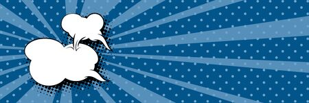 Banner with sun's rays and dots , speech bubble on a dark blue pop art retro background, vector illustration  イラスト・ベクター素材