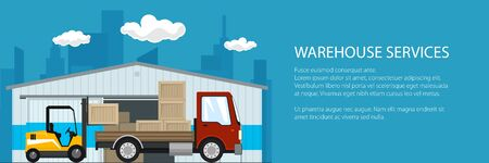Banner of warehouse and delivery services , forklift truck and red small cargo car with boxes , unloading or loading of goods and text, vector illustration Vettoriali