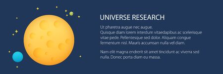 Banner with planet in space and text , yellow moon with stars, space planet with craters in the universe, vector illustration 向量圖像