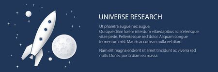 Banner with space rocket flying in space and text , the moon with stars, planet with craters in the universe, vector illustration