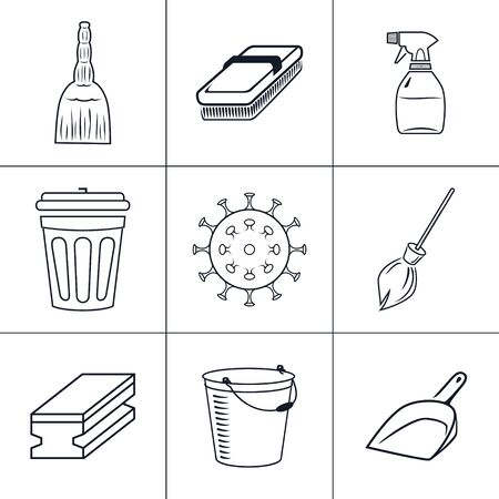 Items for cleaning and wiping and disposing, household cleaning sponge and mop , bacteria sign and broom, bin with bucket , sprayer and scoop, vector illustration