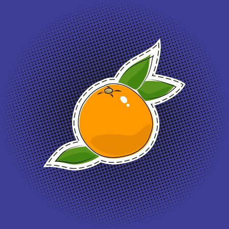 Citrus fruit grapefruit sticker on a purple violet pop art halftone background, black dots in the form of a circle , pins or patches, retro style, vector illustration Vector Illustration