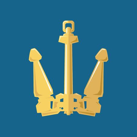Gold flat anchor isolated on a blue background, silhouette marine equipment, travel and tourism concept, vector illustration
