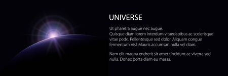 View from space banner, star rises above the planet and text, the sun rising over the earth, rays and glare over the earth , vector illustration