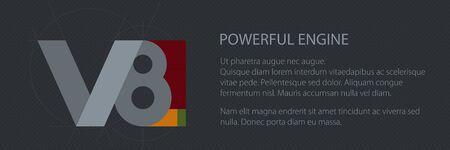 V8 powerfull engine, technology car banner, vector illustration