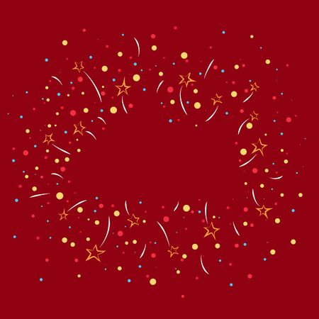 Bright holiday background, fireworks and stars with colorful snowballs on a red background, empty space for text , vector illustration