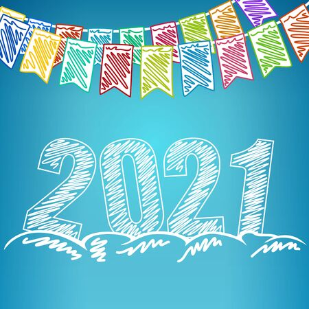 Happy new year 2021, holiday colorful multi colored bunting flags and the year 2021 in the drifts of snow , drawing crayons or markers, winter background, vector illustration