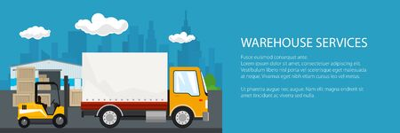 Banner of warehouse and transport services ,warehouse with forklift truck and yellow lorry on the background of the city , unloading or loading of goods and text, vector illustration