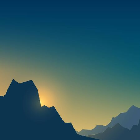 At dawn in the mountains in shades of blue and yellow, dim light at sunset in the mountains,vector illustration Vectores