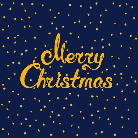 Blue background with gold stars, starry night sky and text Merry Christmas , holiday background, vector illustration