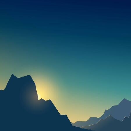 At dawn in the mountains in shades of blue and yellow, dim light at sunset in the mountains, vector illustration