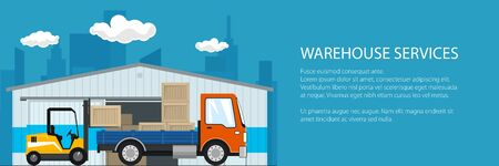 Banner of warehouse and delivery services , forklift truck and orange small cargo car with boxes , unloading or loading of goods and text, vector illustration