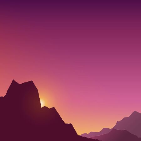 At dawn in the mountains in shades of pink and yellow, dim light at sunset in the mountains