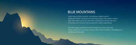 Banner at sunrise in the mountains in shades of blue, dim light at sunset in the mountains,vector illustration