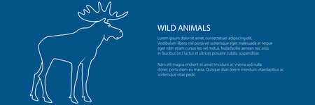Moose bull with antlers isolated on a trendy blue background, the image of elk , deer family banner, vector illustration Ilustracja